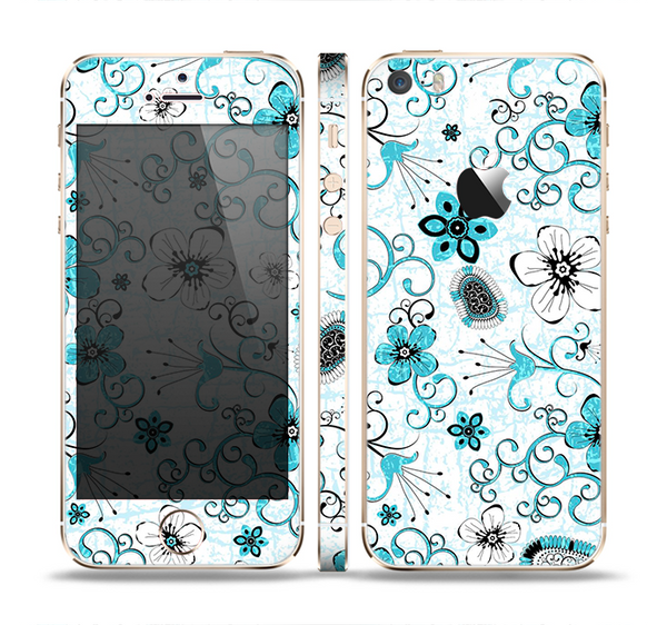 The Abstract Blue & Black Seamless Flowers Skin Set for the Apple iPhone 5s