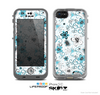 The Abstract Blue & Black Seamless Flowers Skin for the Apple iPhone 5c LifeProof Case