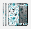 The Abstract Blue & Black Seamless Flowers Skin for the Apple iPhone 6