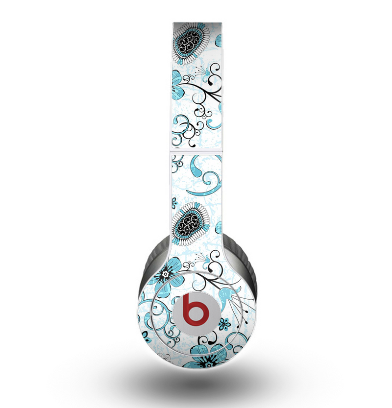 The Abstract Blue & Black Seamless Flowers Skin for the Beats by Dre Original Solo-Solo HD Headphones