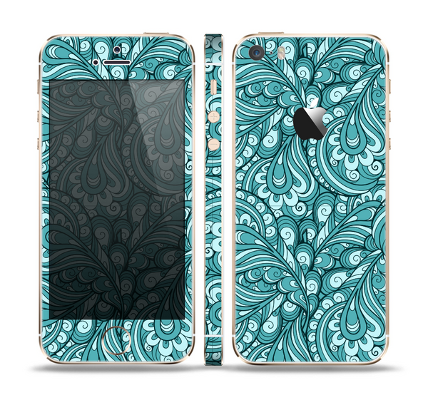 The Abstract Blue Feather Paisley Skin Set for the Apple iPhone 5s