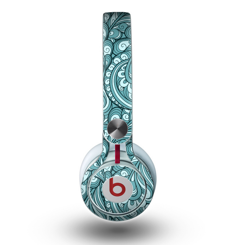 The Abstract Blue Feather Paisley Skin for the Beats by Dre Mixr Headphones
