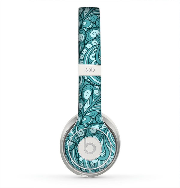 The Abstract Blue Feather Paisley Skin for the Beats by Dre Solo 2 Headphones