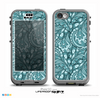 The Abstract Blue Feather Paisley Skin for the iPhone 5c nüüd LifeProof Case