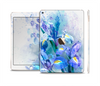 The Abstract Blue Floral Art Skin Set for the Apple iPad Air 2