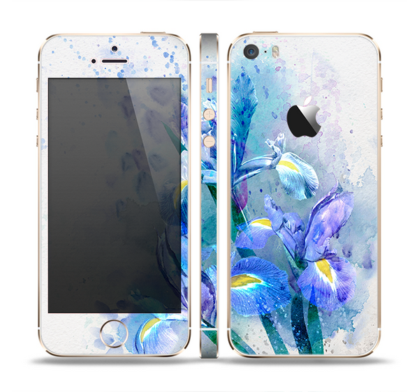 The Abstract Blue Floral Art Skin Set for the Apple iPhone 5s