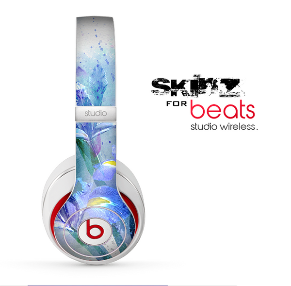 The Abstract Blue Floral Art Skin for the Beats by Dre Studio Wireless Headphones