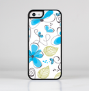 The Abstract Blue Floral Pattern V4 Skin-Sert for the Apple iPhone 5c Skin-Sert Case