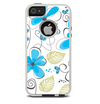 The Abstract Blue Floral Pattern V4 Skin For The iPhone 5-5s Otterbox Commuter Case