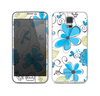 The Abstract Blue Floral Pattern V4 Skin For the Samsung Galaxy S5