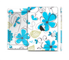 The Abstract Blue Floral Pattern V4 Skin Set for the Apple iPad Mini 4
