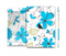 The Abstract Blue Floral Pattern V4 Full Body Skin Set for the Apple iPad Mini 2
