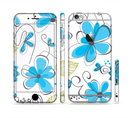 The Abstract Blue Floral Pattern V4 Sectioned Skin Series for the Apple iPhone 6s