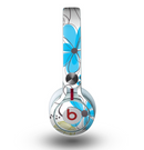 The Abstract Blue Floral Pattern V4 Skin for the Beats by Dre Mixr Headphones