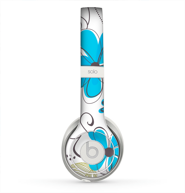 The Abstract Blue Floral Pattern V4 Skin for the Beats by Dre Solo 2 Headphones