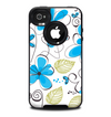 The Abstract Blue Floral Pattern V4 Skin for the iPhone 4-4s OtterBox Commuter Case