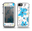 The Abstract Blue Floral Pattern V4 Skin for the iPhone 5-5s OtterBox Preserver WaterProof Case