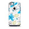 The Abstract Blue Floral Pattern V4 Skin for the iPhone 5c OtterBox Commuter Case