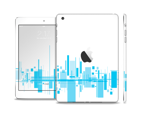 The Abstract Blue Skyline View Full Body Skin Set for the Apple iPad Mini 2