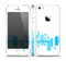 The Abstract Blue Skyline View Skin Set for the Apple iPhone 5s