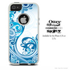 The Abstract Blue Swirled Skin For The iPhone 4-4s or 5-5s Otterbox Commuter Case