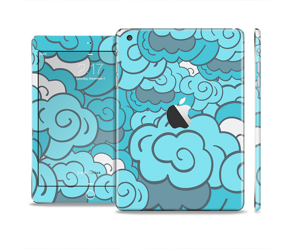 The Abstract Blue Vector Seamless Cloud Pattern Full Body Skin Set for the Apple iPad Mini 2