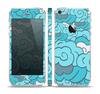 The Abstract Blue Vector Seamless Cloud Pattern Skin Set for the Apple iPhone 5