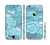 The Abstract Blue Vector Seamless Cloud Pattern Sectioned Skin Series for the Apple iPhone 6