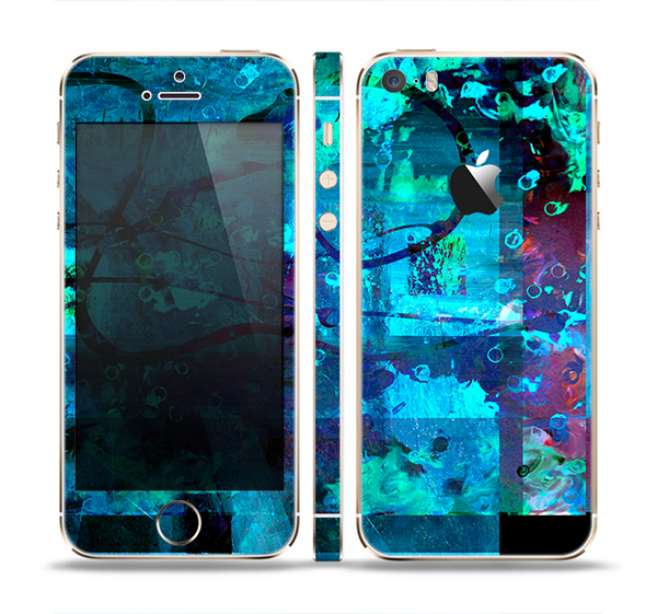 The Abstract Blue Vibrant Colored Art Skin Set for the Apple iPhone 5s