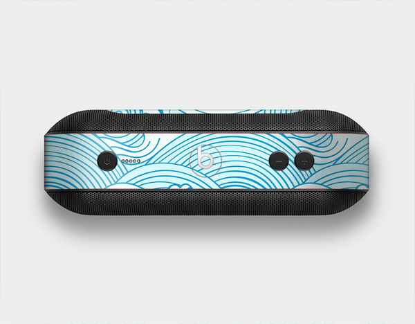 The Abstract Blue & White Waves Skin Set for the Beats Pill Plus