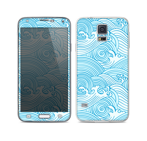 The Abstract Blue and Brown Shaped Aztec Skin For the Samsung Galaxy S5