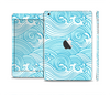 The Abstract Blue & White Waves Skin Set for the Apple iPad Mini 4