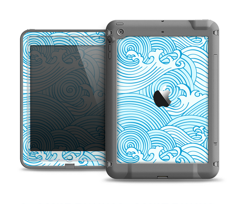 The Abstract Blue & White Waves Apple iPad Air LifeProof Fre Case Skin Set