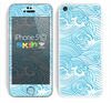 The Abstract Blue & White Waves Skin for the Apple iPhone 5c