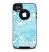 The Abstract Blue & White Waves Skin for the iPhone 4-4s OtterBox Commuter Case