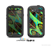 The Abstract Blue & Yellow Vector Feather Pattern Skin For The Samsung Galaxy S3 LifeProof Case
