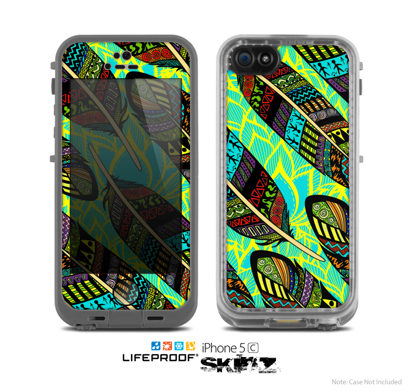 The Abstract Blue & Yellow Vector Feather Pattern Skin for the Apple iPhone 5c LifeProof Case