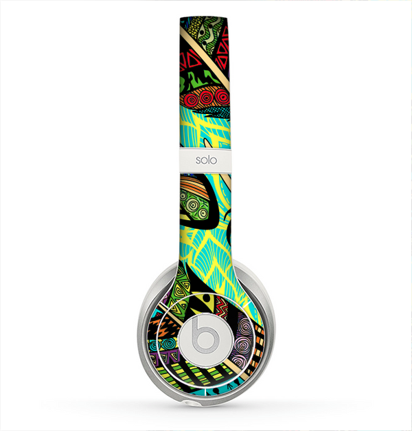 The Abstract Blue & Yellow Vector Feather Pattern Skin for the Beats by Dre Solo 2 Headphones