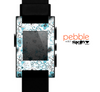 The Abstract Blue & Black Seamless Flowers Skin for the Pebble SmartWatch