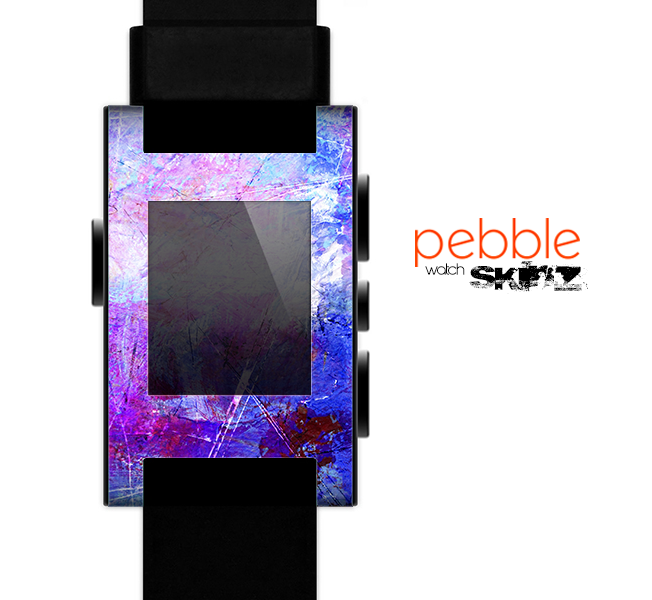 The Abstract Blue & Pink Surface Skin for the Pebble SmartWatch es