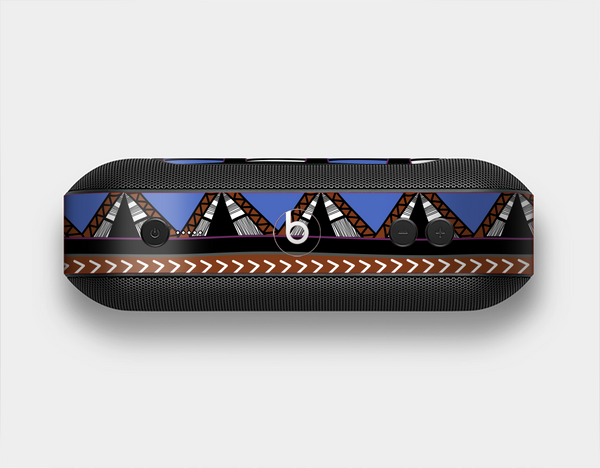 The Abstract Blue and Brown Shaped Aztec Skin Set for the Beats Pill Plus