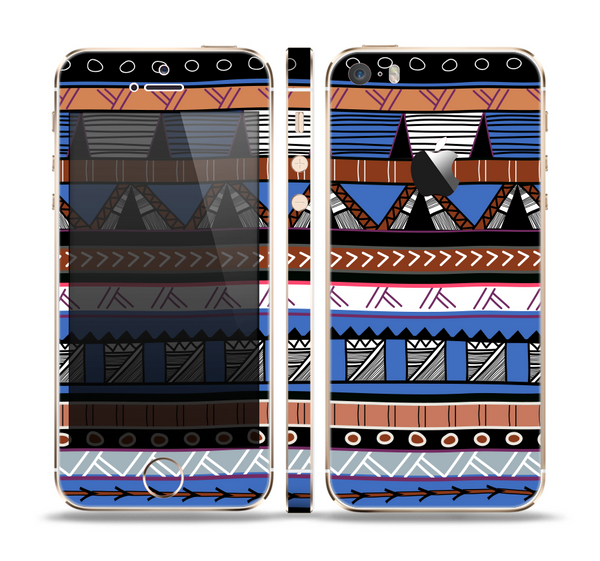 The Abstract Blue and Brown Shaped Aztec Skin Set for the Apple iPhone 5s