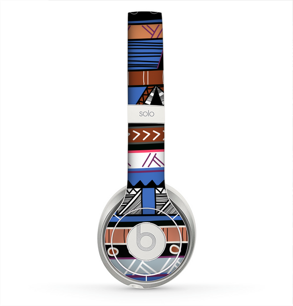 The Abstract Blue and Brown Shaped Aztec Skin for the Beats by Dre Solo 2 Headphones