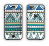 The Abstract Blue and Green Triangle Aztec Apple iPhone 6 LifeProof Nuud Case Skin Set