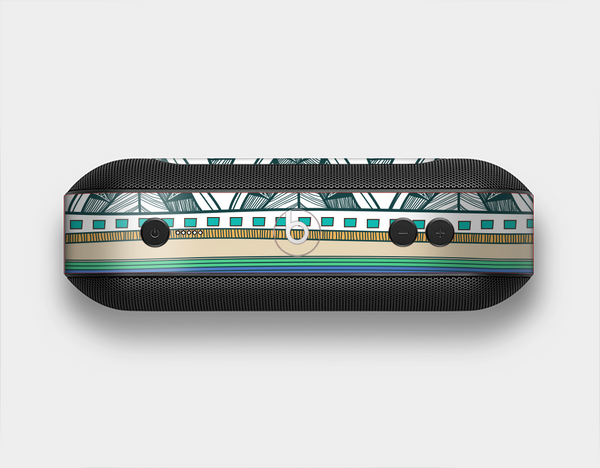 The Abstract Blue and Green Triangle Aztec Skin Set for the Beats Pill Plus