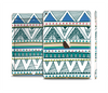 The Abstract Blue and Green Triangle Aztec Skin Set for the Apple iPad Air 2