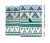 The Abstract Blue and Green Triangle Aztec Skin Set for the Apple iPad Mini 4