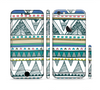 The Abstract Blue and Green Triangle Aztec Sectioned Skin Series for the Apple iPhone 6