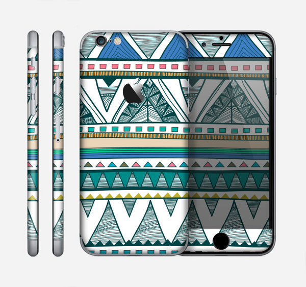 The Abstract Blue and Green Triangle Aztec Skin for the Apple iPhone 6