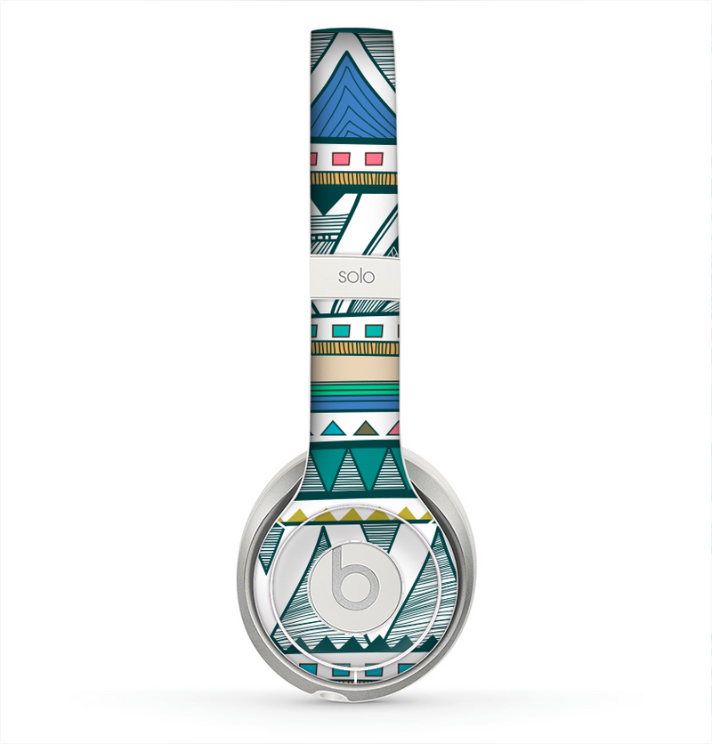 The Abstract Blue and Green Triangle Aztec Skin for the Beats by Dre Solo 2 Headphones